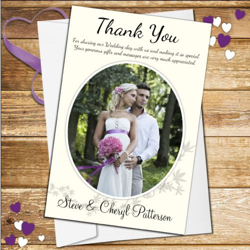 10 Personalised Wedding Day Thank you Photo Cards N47